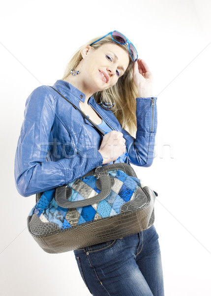 Portret permanente vrouw Blauw kleding Stockfoto © phbcz