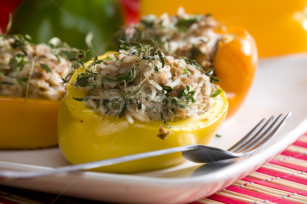 peppers filled with rice and tuna fish Stock photo © phbcz