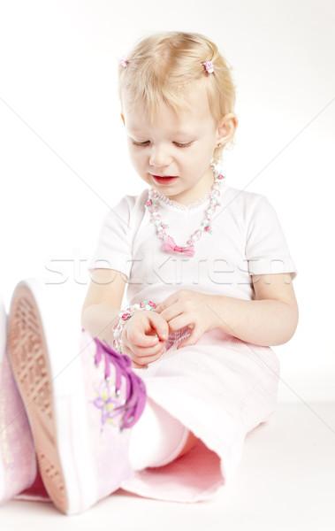 Portre oturma küçük kız kolye kız Stok fotoğraf © phbcz