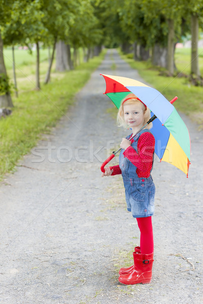 little girl with umbrella in alley Stock photo © phbcz