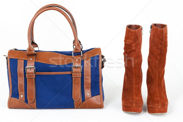 ファッショナブル プラットフォーム ブラウン 靴 デニム ハンドバッグ ストックフォト © phbcz