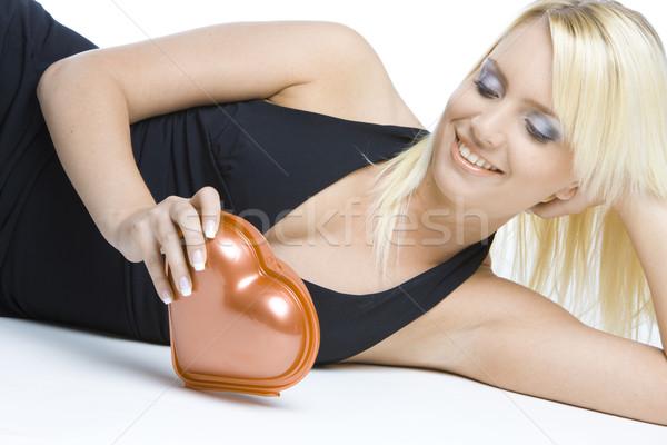 portrait of woman with chocolate box Stock photo © phbcz