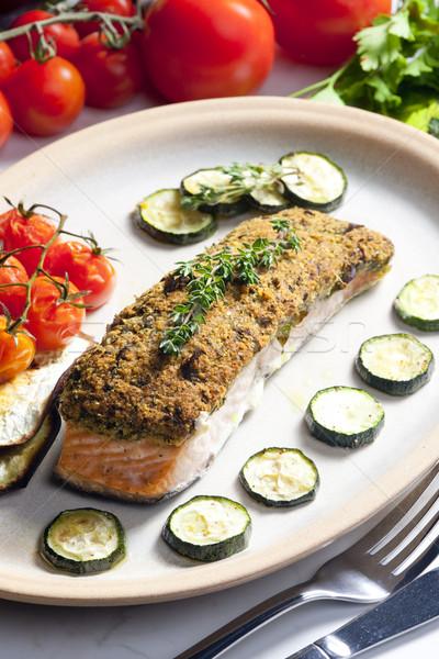 Zdjęcia stock: łososia · zioła · żywności · nóż · warzyw