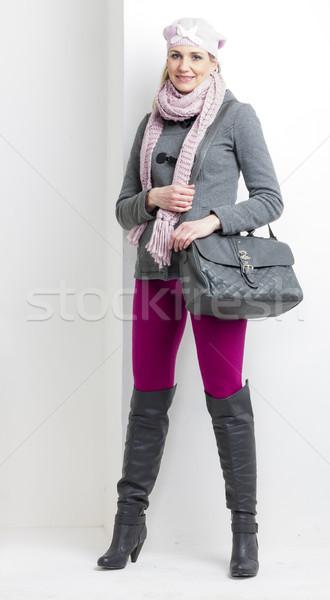 女性 着用 冬 服 ハンドバッグ 帽子 ストックフォト © phbcz