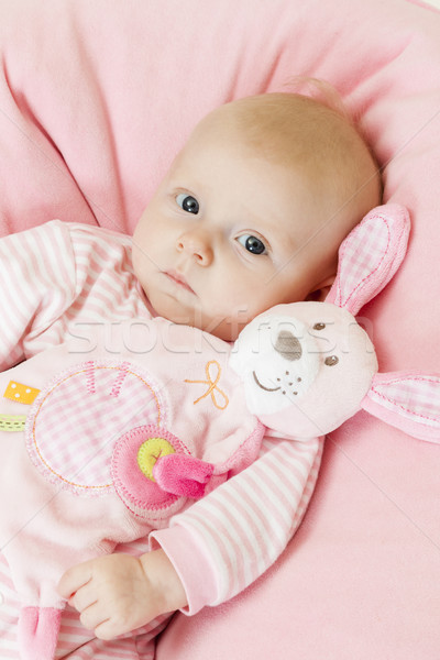 portrait of three months old baby girl holding a toy Stock photo © phbcz