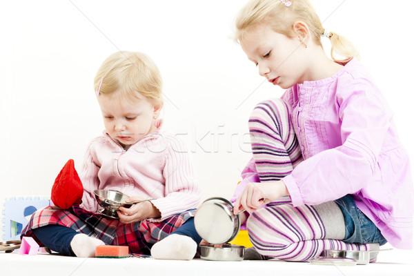 Iki oynama çocuk yemek kız Stok fotoğraf © phbcz