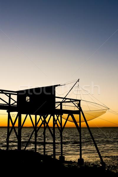 桟橋 漁網 日の出 部門 建物 釣り ストックフォト © phbcz