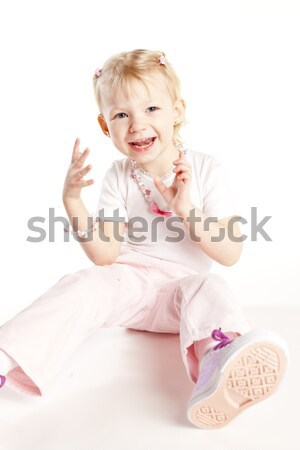 sitting little girl wearing necklace Stock photo © phbcz