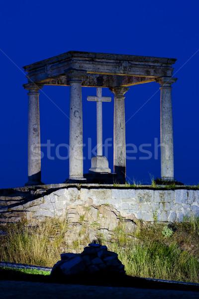 Los cuatro postes (the four poles) at night, Avila, Castile and  Stock photo © phbcz