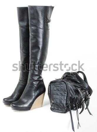Modny czarny buty torebka Zdjęcia stock © phbcz