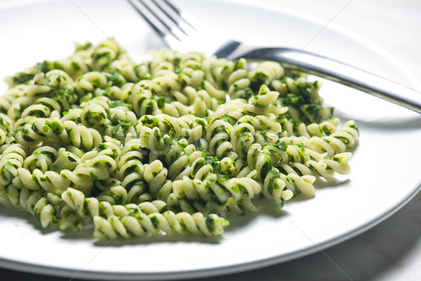 pasta fussili with spinach Stock photo © phbcz