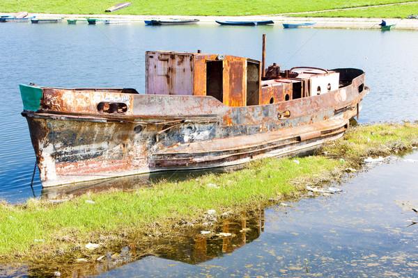Eski gemi tuna nehir Sırbistan Stok fotoğraf © phbcz