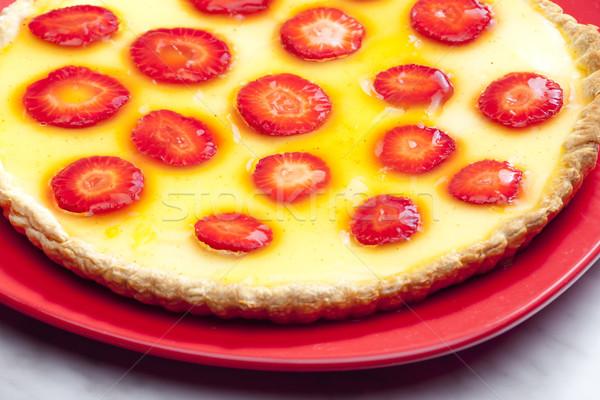 Epertorta étel torta gyümölcsök eprek edények Stock fotó © phbcz