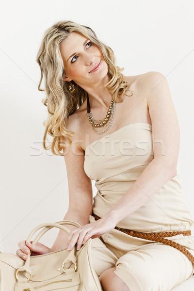 портрет сидят женщину лет одежды Сток-фото © phbcz