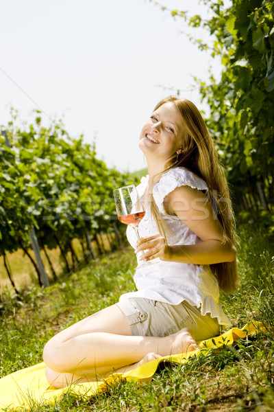 woman at a picnic in vineyard Stock photo © phbcz