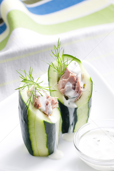 Stock photo: tuna salad in cucumber