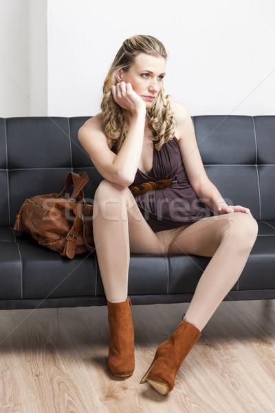 женщину модный коричневый обувь сумочка Сток-фото © phbcz