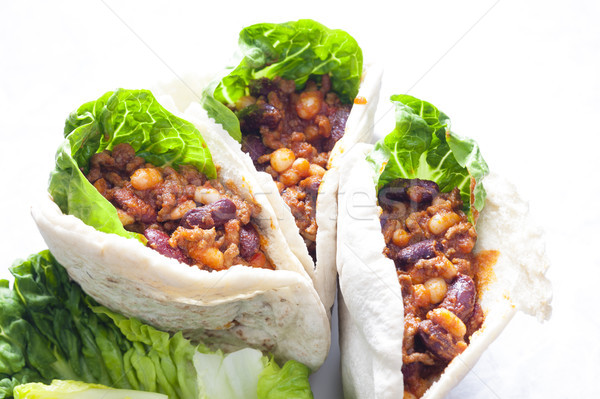 Pita pão mexicano mistura prato carne Foto stock © phbcz