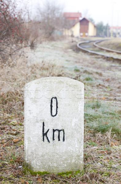 Nulla kilométer felirat tárgy kezdet szabadtér Stock fotó © phbcz