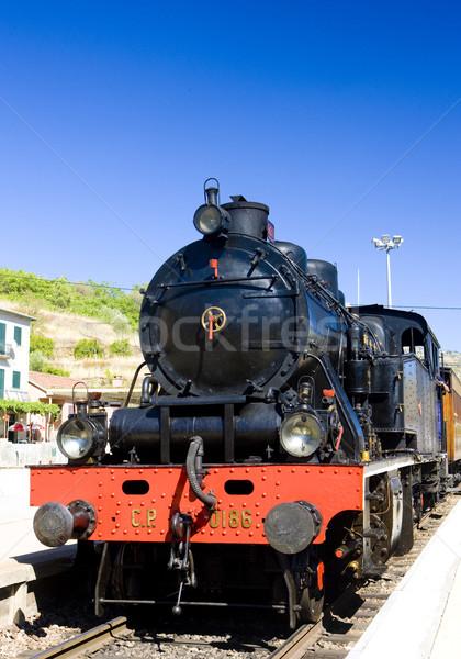 Stoomlocomotief treinstation vallei Portugal reizen vervoer Stockfoto © phbcz