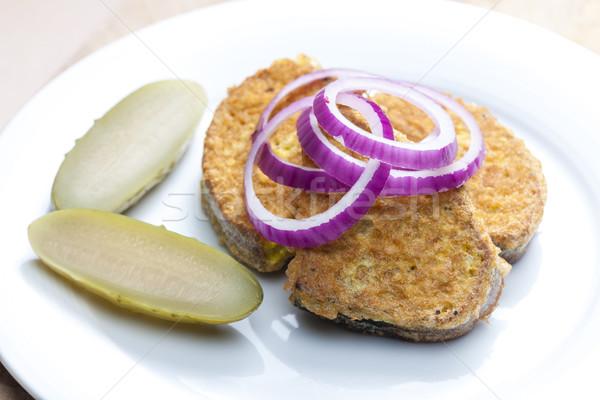 egg patty on bread Stock photo © phbcz