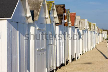 huts on the beach, Bernieres-s-Mer, Normandy, France Stock photo © phbcz