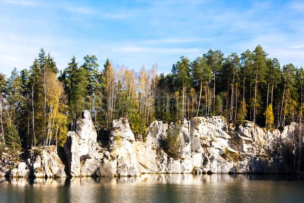 Lago rocas República Checa agua árbol planta Foto stock © phbcz