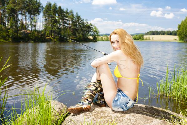 рыбалки пруд лет женщину Бикини Сток-фото © phbcz