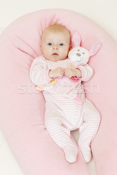 three months old baby girl holding a toy Stock photo © phbcz