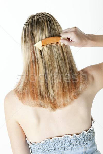 詳細 女性 長髪 美 女性 ブラシ ストックフォト © phbcz