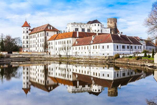 Kastély palota Csehország víz utazás építészet Stock fotó © phbcz