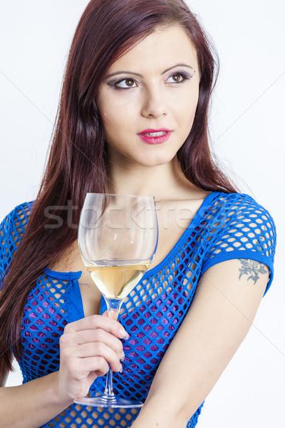 Ritratto vetro vino bianco donna giovani Foto d'archivio © phbcz