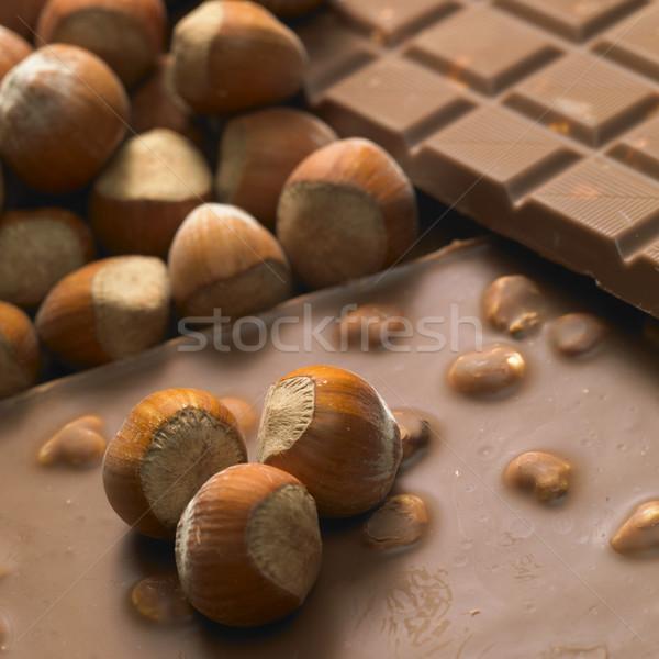 chocolate bars with hazelnuts Stock photo © phbcz