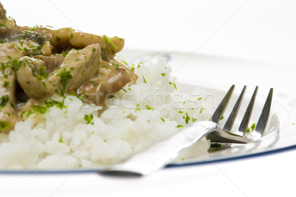 noodles of pork meat with champignons Stock photo © phbcz