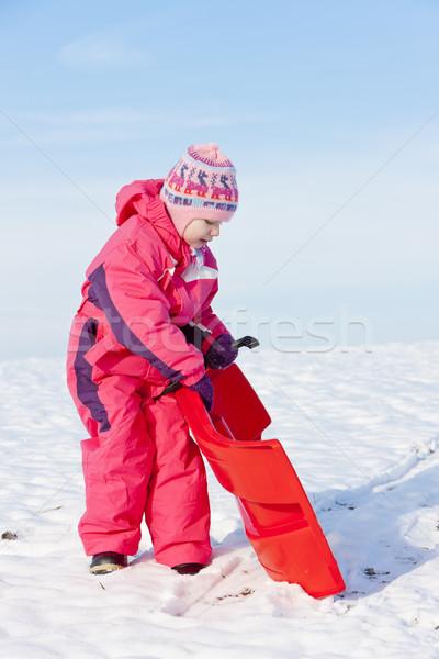 Kislány hó lány gyermek gyerek kalap Stock fotó © phbcz
