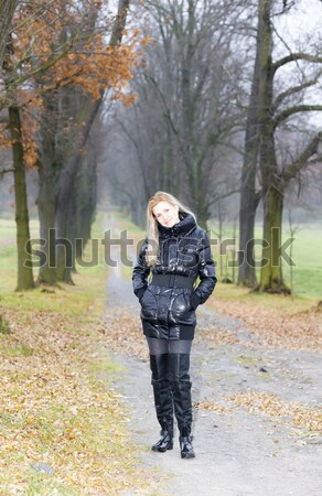 Mulher preto roupa botas Foto stock © phbcz
