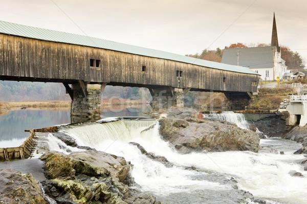 Banyo köprü New Hampshire ABD binalar nehir Stok fotoğraf © phbcz