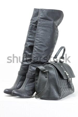 Gris bottes sac à main chaussures style objet Photo stock © phbcz