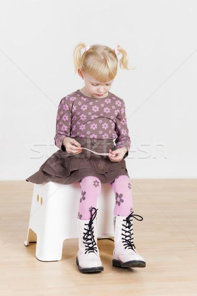 ül kislány karkötő lány gyermek gyerek Stock fotó © phbcz