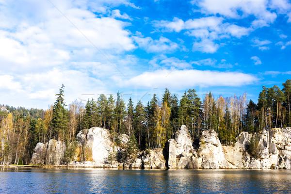 Lago rocce Repubblica Ceca acqua albero impianto Foto d'archivio © phbcz