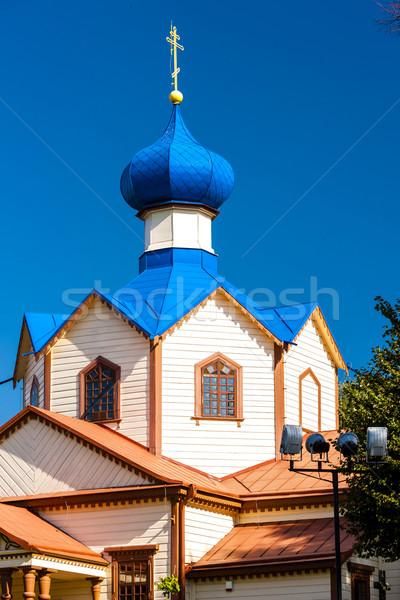 Fából készült ortodox templom szent építészet Európa Stock fotó © phbcz
