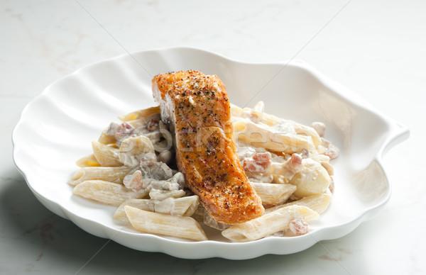 Сток-фото: лосося · перец · сливочный · пасты · продовольствие