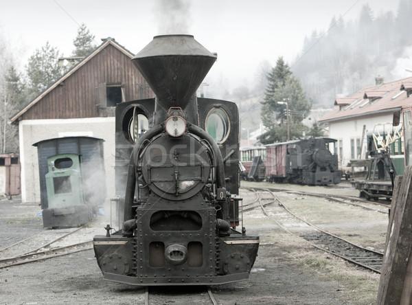 Stoomlocomotief spoorweg Slowakije reizen stoom buitenshuis Stockfoto © phbcz