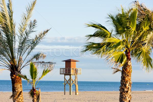 Ratownik kabiny plaży morza dłoni podróży Zdjęcia stock © phbcz