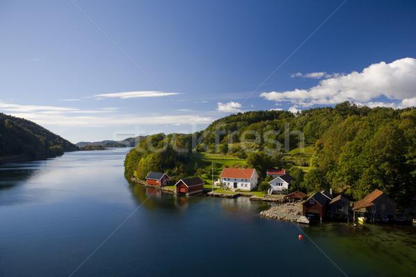 пейзаж южный Норвегия морем зданий домах Сток-фото © phbcz
