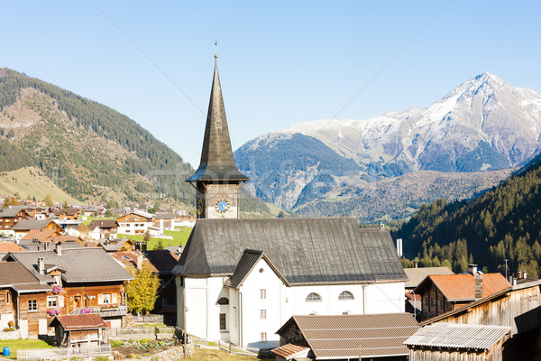 Suisse paysage église montagnes architecture Europe Photo stock © phbcz