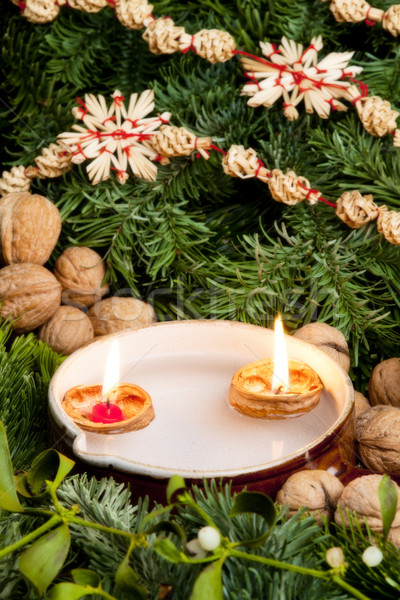 Christmas still life with candles Stock photo © phbcz