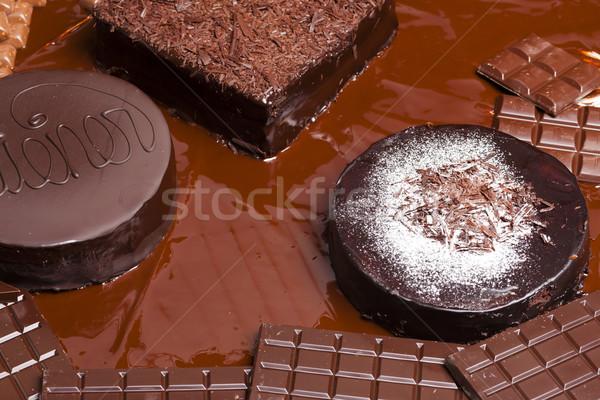 Csendélet csokoládé torta torták étel születésnap Stock fotó © phbcz