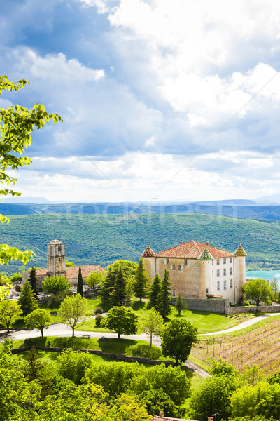 chateau and church in Aiguines, Var Department, Provence, France Stock photo © phbcz