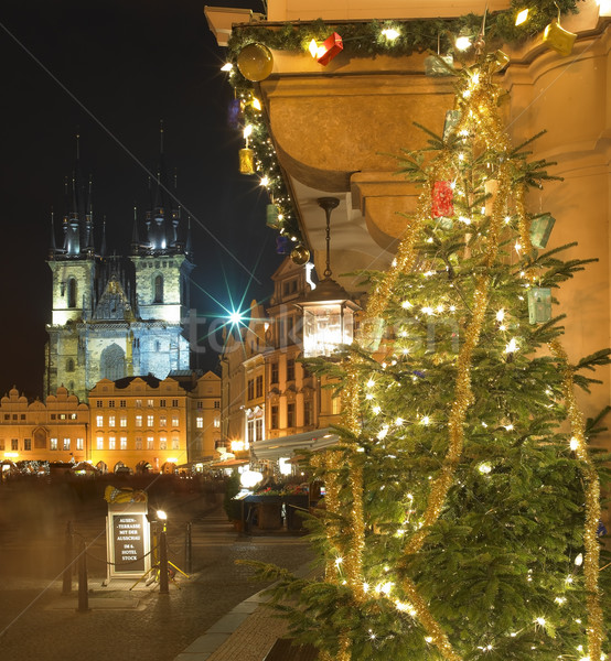 Old Town Square at Christmas, Prague, Czech Republic Stock photo © phbcz